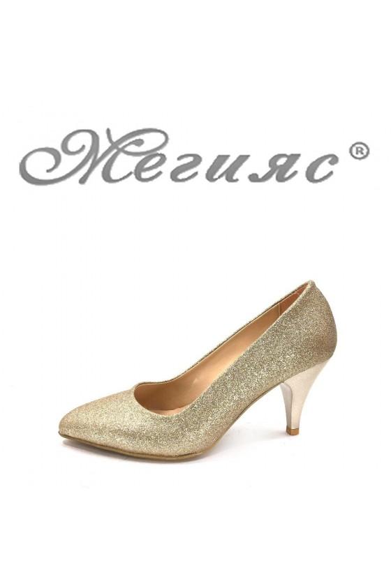 117 Дамски елегантни обувки златисти брокат на среден ток