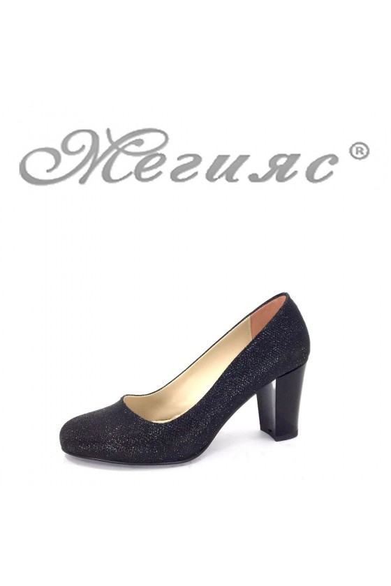 99 Дамски елегантни обувки черни брокат на широк ток