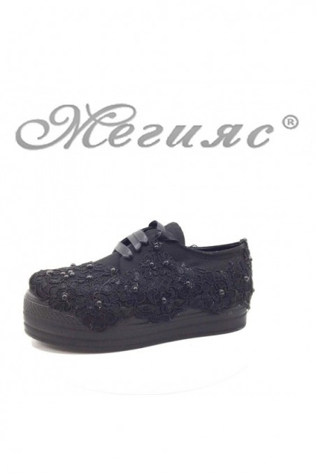 312 Lady platform shoes black pu