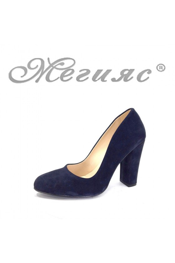 706 Дамски елегантни обувки тъмносини велур на широк ток