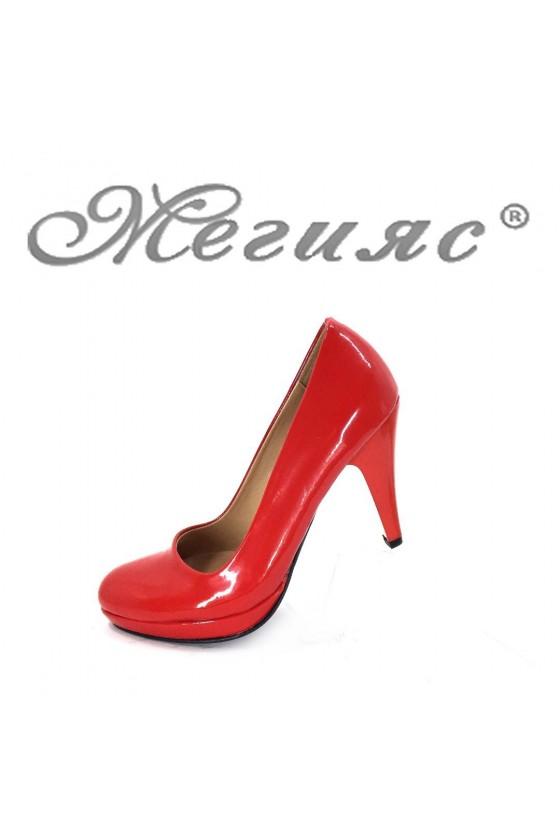 510 Дамски елегантни обувки червени лак на висок ток