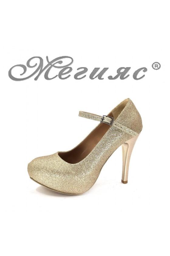 Дамски елегантни обувки златисти брокат на висок ток 520-А