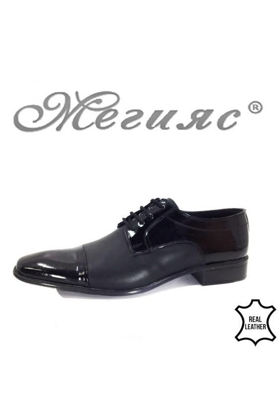 7700 XXL Мъжки обувки черни от естествена кожа и лак
