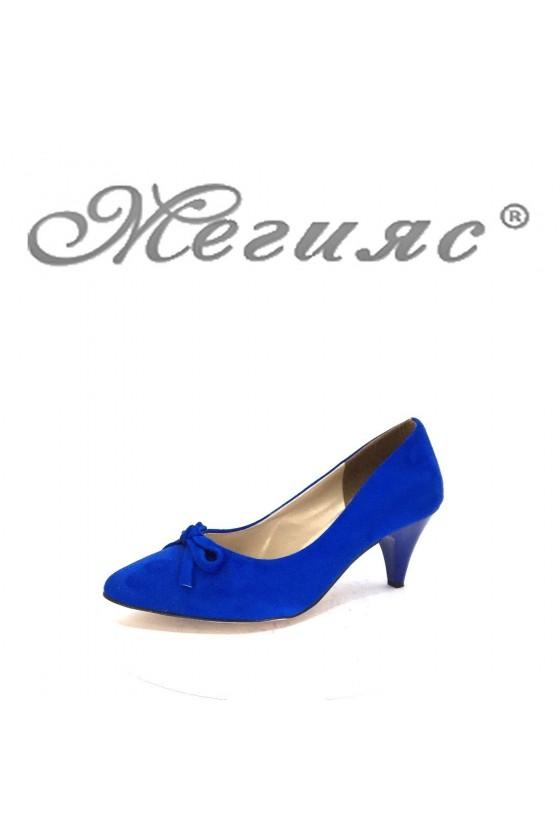 91735 Дамски обувки сини от велур на среден ток