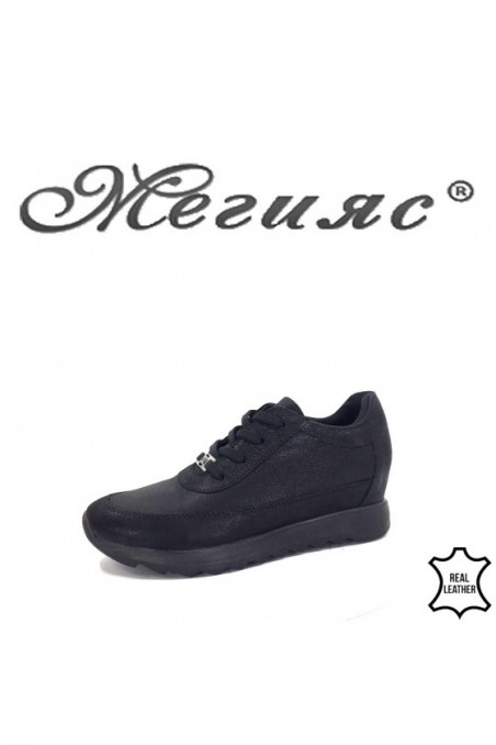 7610 Lady sport shoes black leather