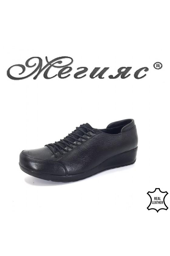 Дамски обувки черни от естествена кожа ежедневни