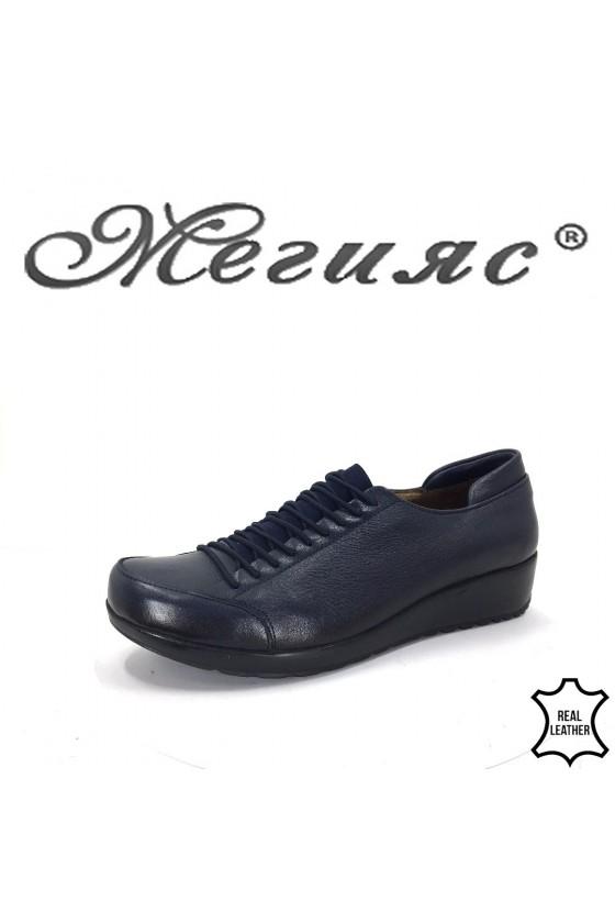 Дамски обувки на платформа сини от естествена кожа ежедневни