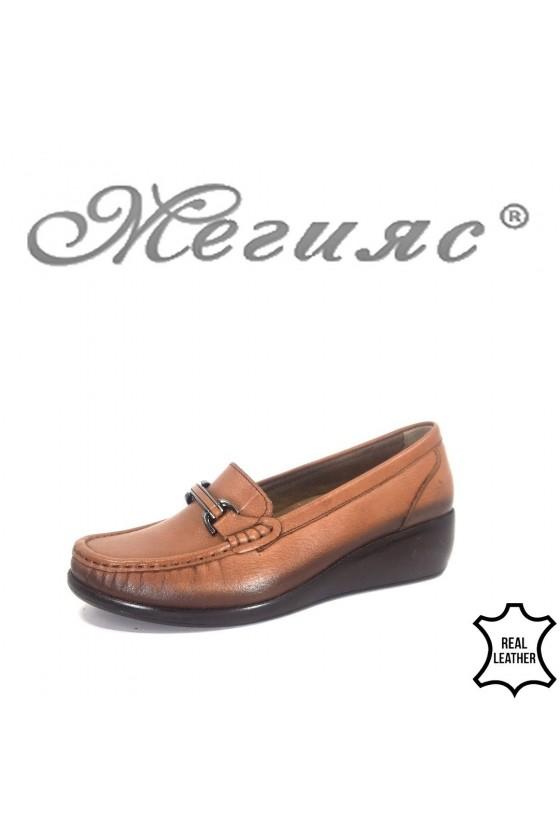 Дамски ортопедични обувки 2000 цвят таба тип мокасини от естествена кожа