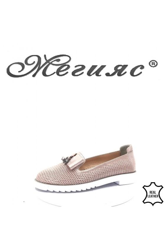 1017 Дамски обувки пудра  от естествена кожа