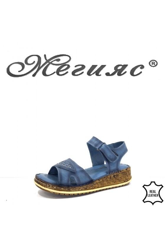912 Дамски сандали сини ежедневни от естествена кожа