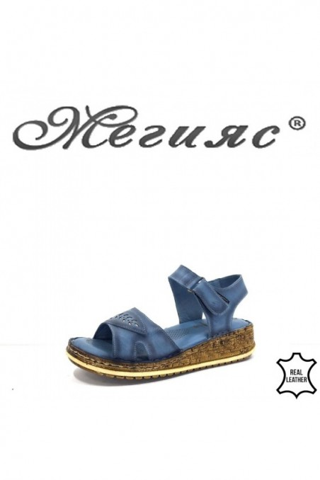912 Lady sandals blue leather