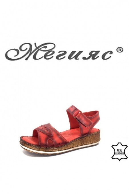 912 Lady sandals red leather