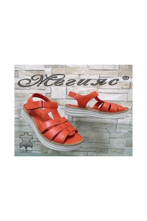 8606 Дамски сандали корал от естествена кожа