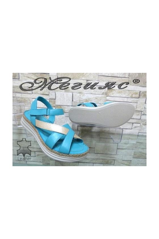8602 Дамски сандали цвят тюркоаз от естествена кожа