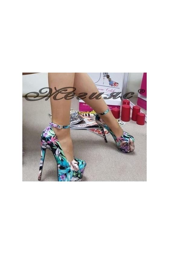 08-227 Дамски обувки шарени на висок ток