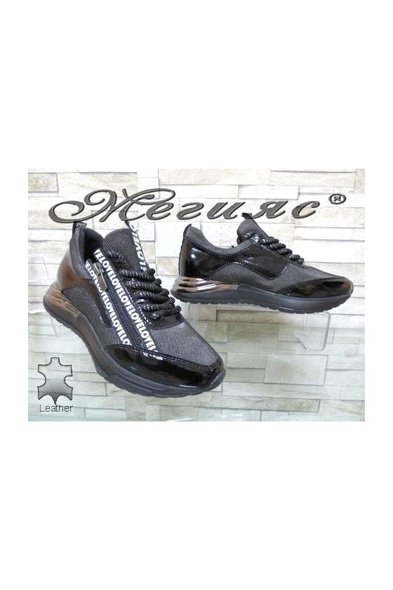 419-22-24 Дамски обувки черни с графит от естествена кожа