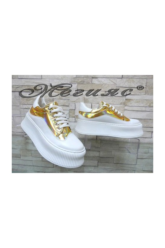 9-K Lady sport shoes white+gold pu