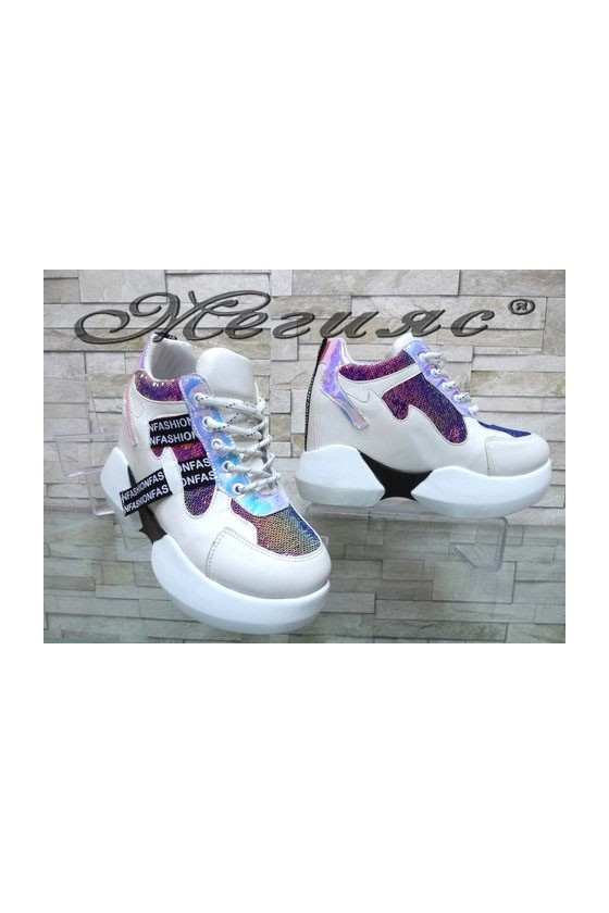 80 Lady sport shoes white pu