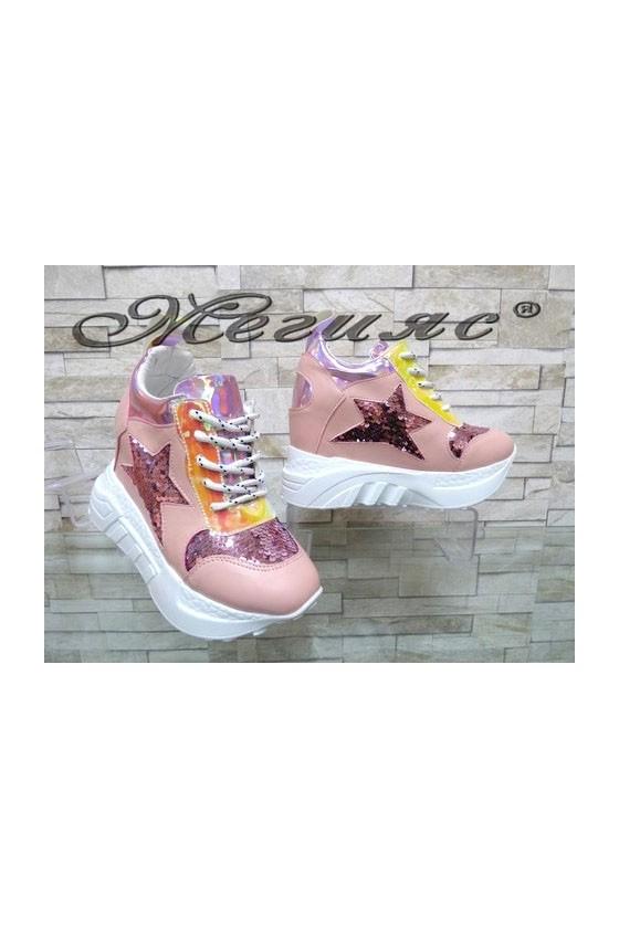 005-Х Дамски обувки цвят пудра от еко кожа