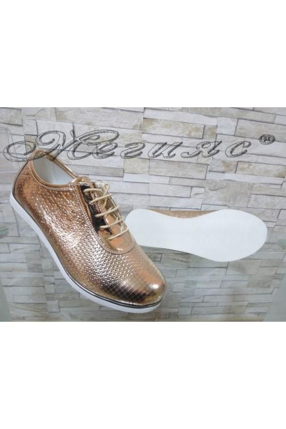 Дамски обувки 0020 бакър лак ежедневни равни с връзки