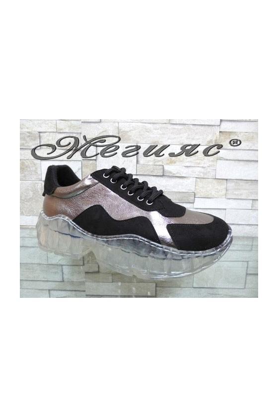 14-К Дамски спортни обувки черни със сиво от еко кожа