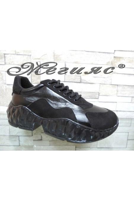 14-К Дамски спортни обувки чисто черни от еко кожа