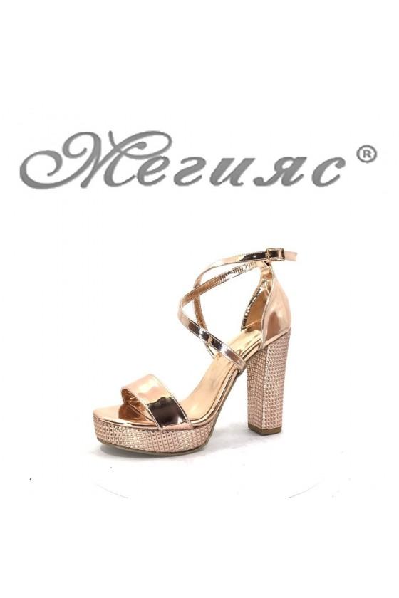 745 Дамски елегантни сандали цвят бакър на висок ток