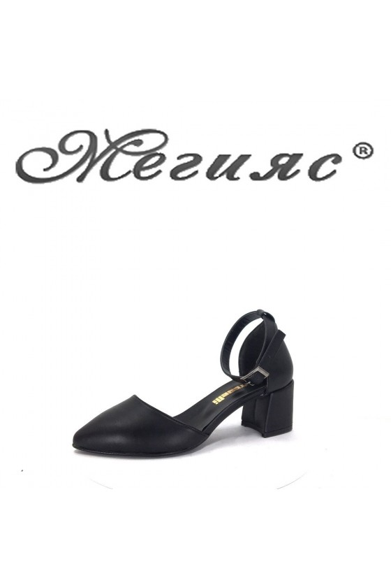 5560 Дамски сандали черна еко кожа елегантни на широк ток