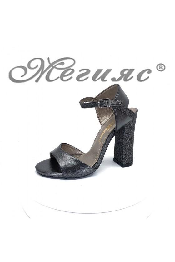 Дамски сандали 978 графит елегантни на висок ток