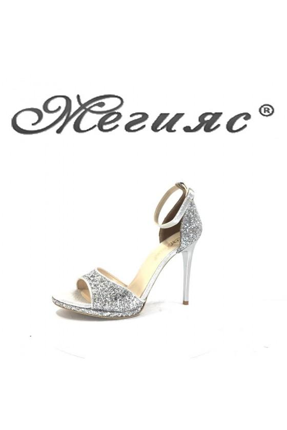 885 Women elegant sandals silver pu with high heel