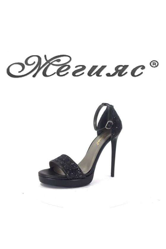 884-1  Дамски сандали черен брокат елегантни на висок ток