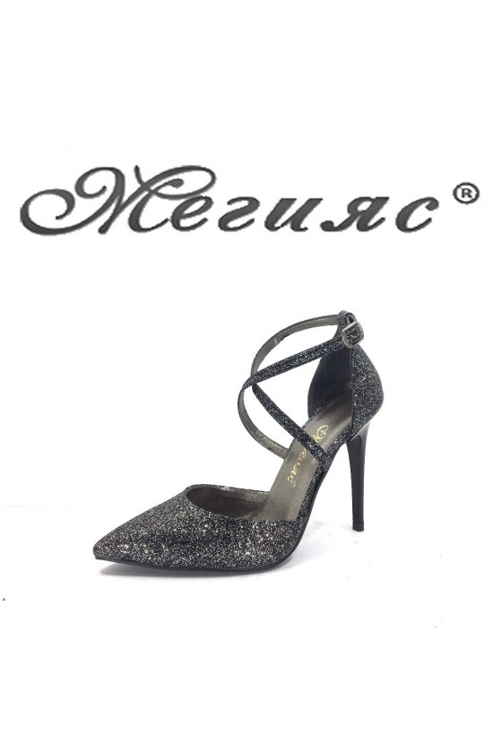 547 Дамски обувки графит брокат елегантни с тънък ток
