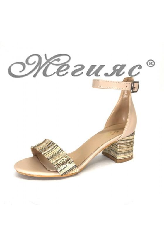 Дамски сандали 07-63 елегантни на широк ток
