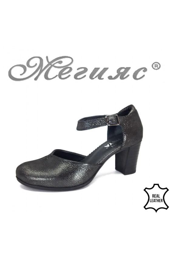 Дамски елегантни сандали 2257-109 графит на широк ток от естествена кожа