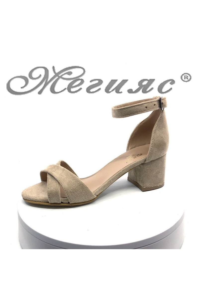 Women sandals 0781 beige suede with middle heel