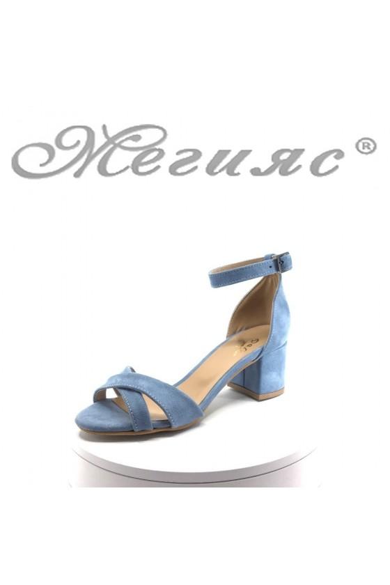 Дамски сандали 0781 син велур с широк ток