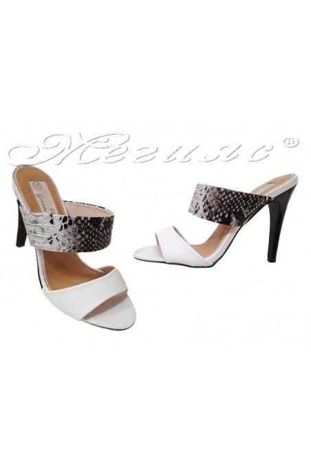 Women high heel slippers TINA 15-224 white+snake pu