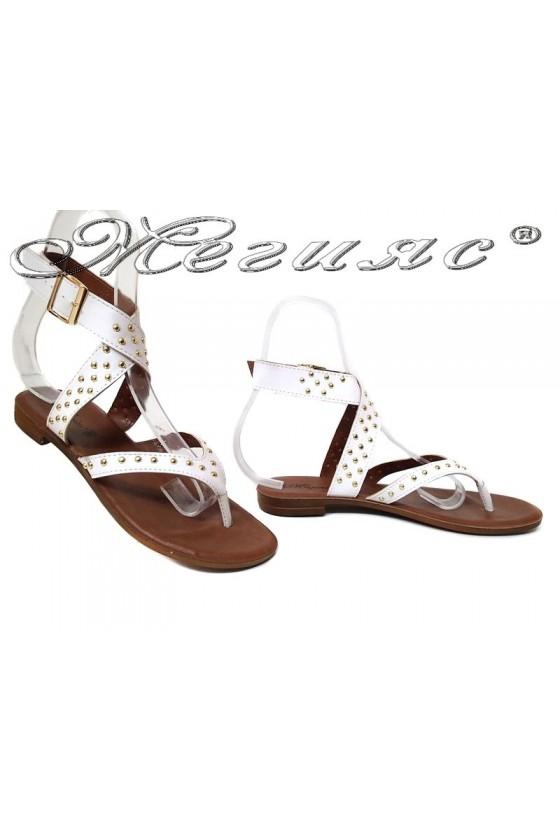Дамски сандали 115183 бели равни ежедневни еко кожа