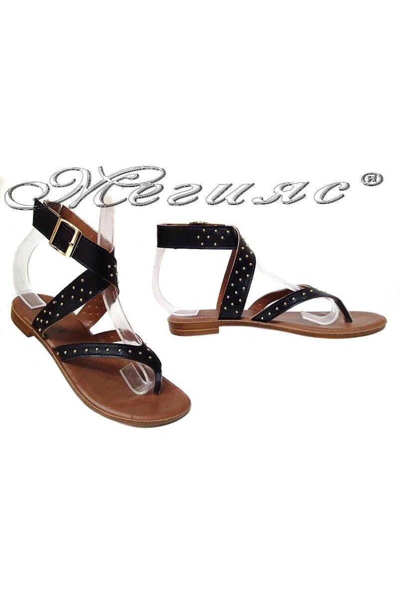 Дамски сандали 115183 черни равни ежедневни еко кожа