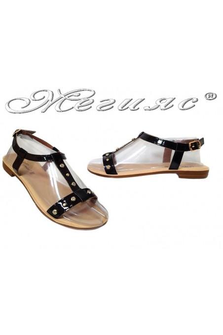 Дамски сандали 115186 черни равни ежедневни еко кожа