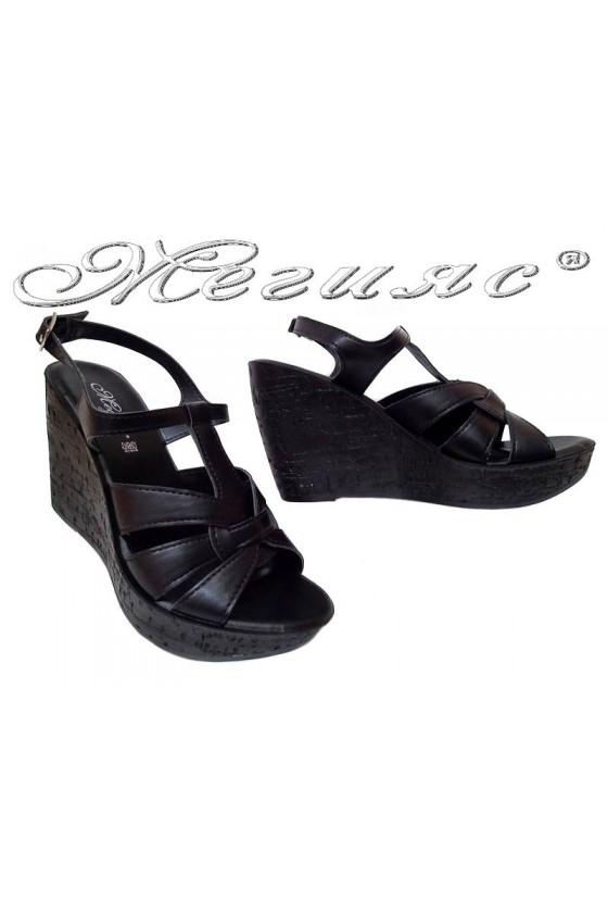 Дамски сандали 114330 черни платформа еко кожа
