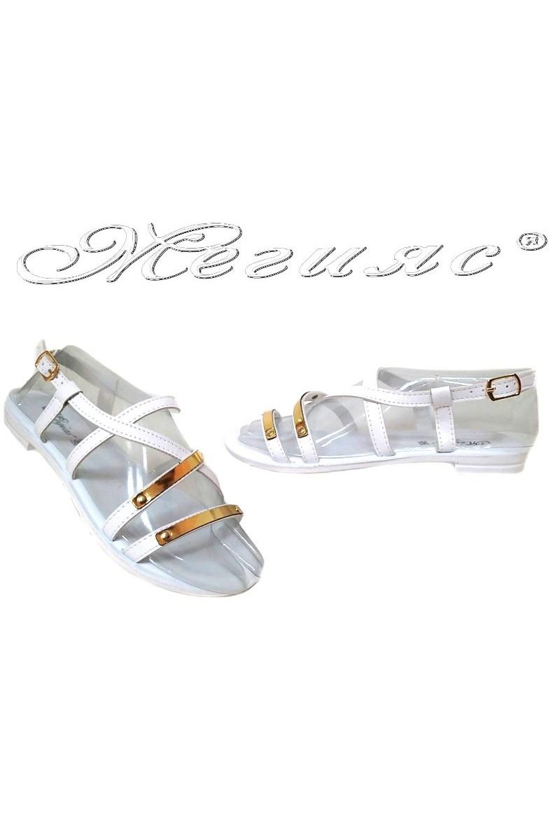Дамски сандали 115178 бели равни ежедневни еко кожа