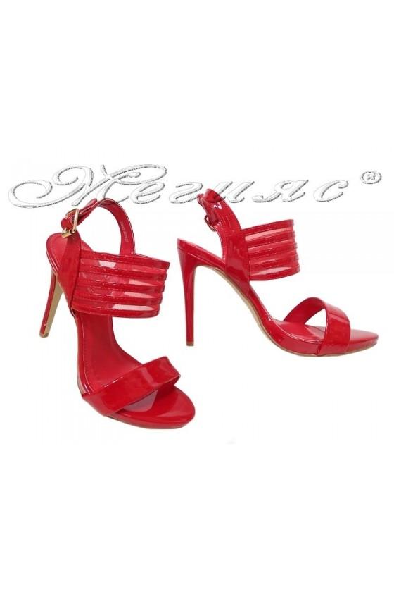 Дамски сандали WENDY 20S16-27 червени лак с висок ток елегантни