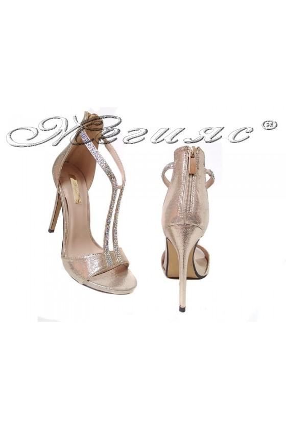 Дамски елегантни сандали JENIFFER 20S16-236 златист текстил