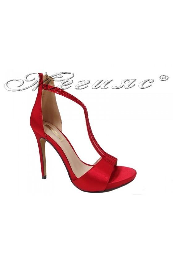 Дамски елегантни сандали JENIFFER 20S16-236 червен текстил
