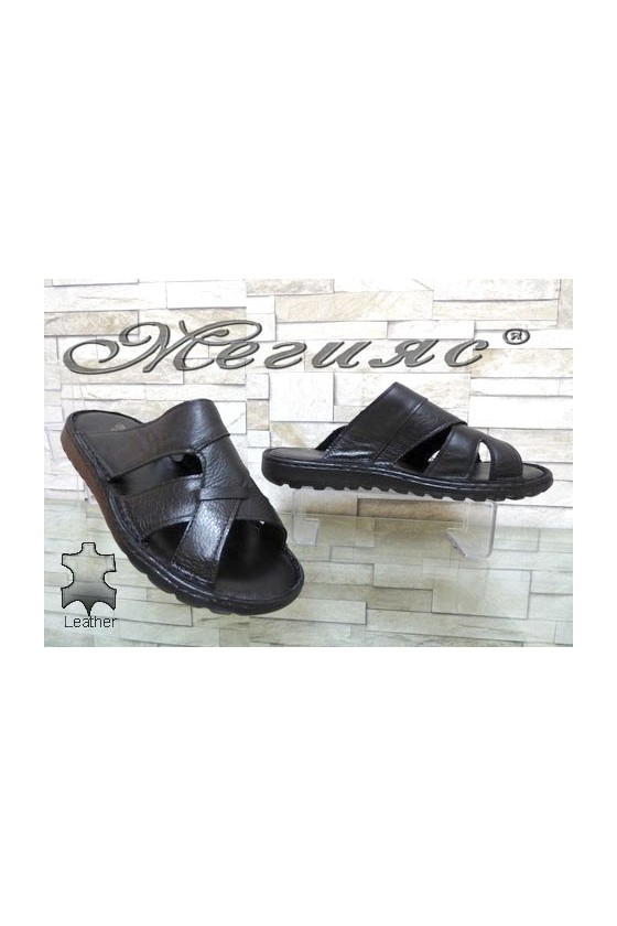 65/1/01 Men's sandals black leather