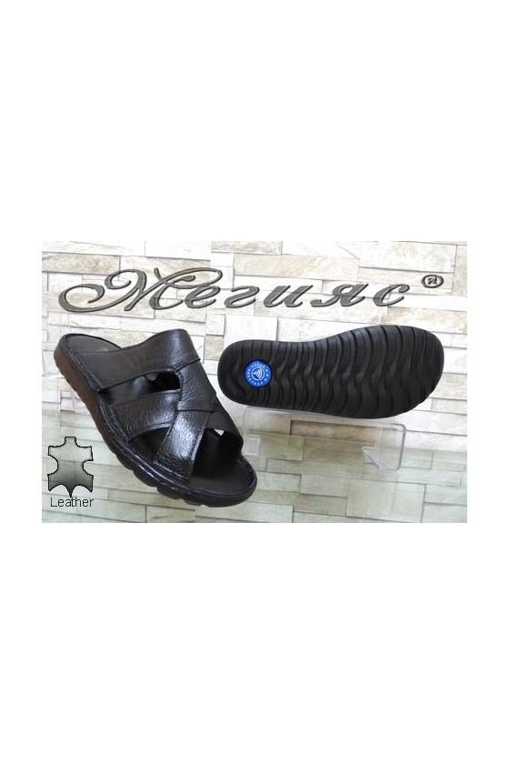 65/1/01 Men's sandals black leather