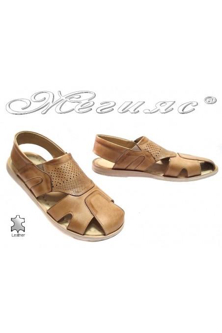 Мъжки сандали Фантазия Т-6 бежови естествена кожа
