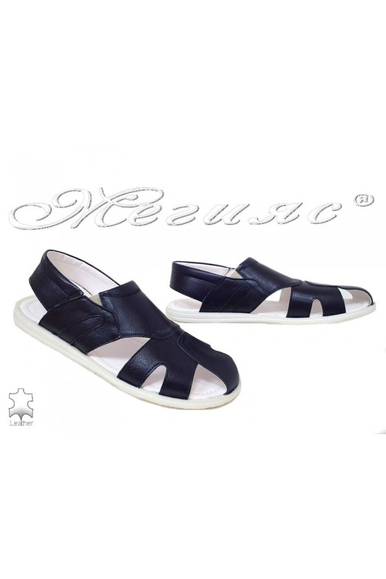 Men's sandals T-6 dark blue leather