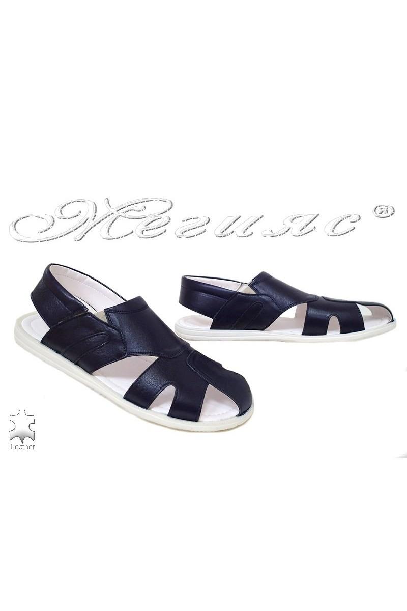 Мъжки сандали Фантазия Т-6 тъмно сини от естетсвена кожа